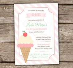 Ice Cream Invitation Birthday Party - DIY, Printable, Baby shower, Couples Shower, Kids Birthday, First Brithday, Pink, Girl's, Shoppe