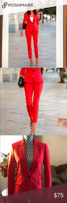 Express pantsuit Excellent preowned condition. Bright red color.  Jacket size 6R and pants size 4R.  Small mark on jacket as seen in pictures, haven't tried to clean. Overall suit was worn once. Express Pants Ankle & Cropped