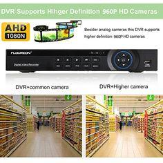 Floureon 8CH 1080N AHD CCTV DVR Digital Video Recorder + 4 x Outdoor 2000TVL 960P 1.3MP Night Vision Bullet Camera with Built-in 1TB Hard Drive Security DVR Kit