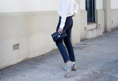 jeans, white silk shirt, loafers, chanel