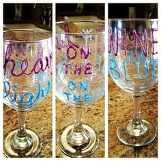 DIY Pi Phi wine glass craft- Heavy on the wine, light on the blue #piphi #pibetaphi