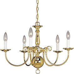 Progress Lighting Americana Collection 5-Light Polished Brass Chandelier-P4346-10 at The Home Depot