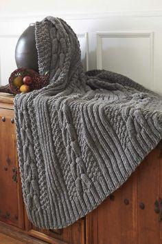 Bernat® Harvest Home Horseshoe Cable Blanket #harvesthome #knit #pattern