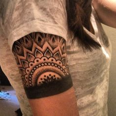 Blackwork tattoo half sleeve