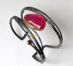 Hot pink rose-cut ruby Twig Cuff by Sydney Lynch Jewelry. American Made. 2013 Buyers Market of American Craft. americanmadeshow.com