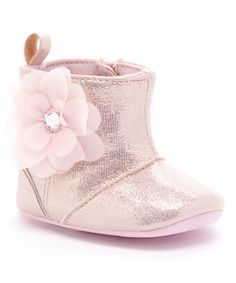 Look at this Laura Ashley Pink Shine Floral Booties on #zulily today!