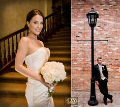 Bride and Groom Portraits Poses Fun Outdoors Vail Village Elegant Mountain Town White Black Champagne  Rustic Elegance Boquet Stair Case Warm Indoors Red Brick Outside Lamp Summer May Wedding Blue Bridal Vail Interfaith Chapel
