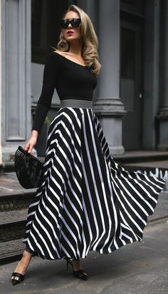 Click for outfit details! // black and white striped maxi skirt, black off the shoulder bodysuit, black embellished mule pumps, black oversized cat-eye sunglasses, black straw clutch {Diane von Furstenberg, DVF, Alice and Olivia, Le Specs, Cult Gaia, spring style, classic outfits, fashion blogger, nyc}
