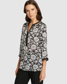Blusa de mujer Antea con estampado y manga francesa Indian Wear, Sewing, Womens Fashion, Pattern, How To Wear, Jackets, Shirts, Outfits, Clothes