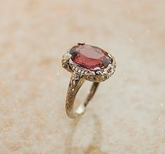 Antique 14k White Gold Pink Tourmaline Ring by SITFineJewelry, $3490.00