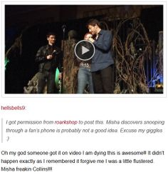 Misha and fan Vegascon 2014 [video] - Misha find destiel art on fan's phone (click through to watch it)