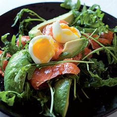 Salmon & avocado salad with soft-boiled eggs
