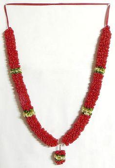 "Red, Golden and Green Ribbon Artificial Flower Garland 30"", $17.50"