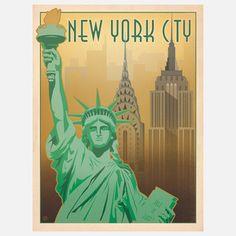 World Travel New York Print