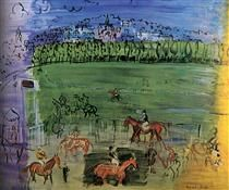 Racetrack at Deauville - Raoul Dufy Art Reproduction Expressionist Artists, Expressionism, Modernist Movement, Raoul Dufy, Post Impressionism, Art Database, Oil Painting Reproductions, Famous Artists, Online Art Gallery