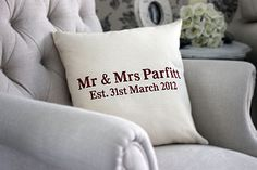 Personalised 'Mr & Mrs Since…' Cushion Cover