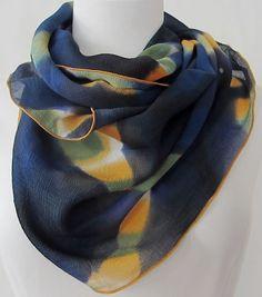Indigo Zigzag Itajime Shibori Crinkle Silk Scarf by DianneKoppischHricko on Etsy