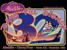 Days till Disney: 32 days Aladdin Movie # 32 - November 1992 -  #TTDAVCDN Count down to YOUR next Disney vacation at: http://www.tiggertravels.com/ #disneycountdown #vacationcountdown  #Disney #vacation #TiggerTravels #TiggerTravelsSite #TiggerTravelsDotCom  #TiggersTravels