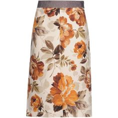 Marta Ferri Knee Length Skirt ($315) ❤ liked on Polyvore featuring skirts, brown, rayon skirt, pink skirt, pink knee length skirt, floral knee length skirt and knee length skirts