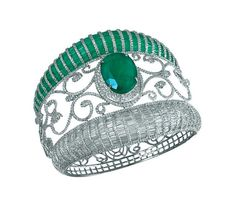 MINAWALA Festival of Emeralds collection ring in white and yellow gold with diamonds and emeralds.