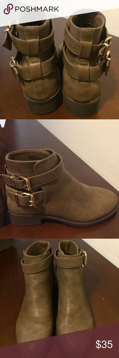 NEW Grayish/brownish booties They are NEW and never worn and super cute! I wish they fit me I need a size 71/2. Looking for other booties like these. Forever 21 Shoes Ankle Boots & Booties