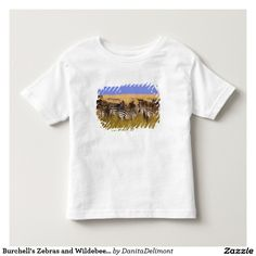 Burchell's Zebras and Wildebeest in tall summer Toddler T-shirt