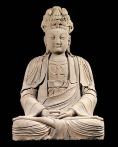 A Sandstone sculpture of a Bodhisattva. Northern China, Song Dynasty (960-1279 A.D.) artfinding.com