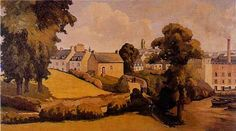 """Les peintres Villard Robert-Paulo Villard """" Vieilles maisons des Plomarc'h et usine """""""