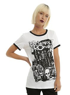cc3631ad Ringer style tee from My Chemical Romance featuring a large illustration  design inspired by their classic rock opera The Black Parade.