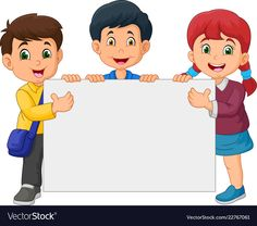 Cartoon happy kids holding blank sign vector image on VectorStock Happy Children's Day, Happy Kids, Sports Day Poster, Classroom Welcome, Boarders And Frames, Blank Sign, School Frame, School Murals, Powerpoint Background Design