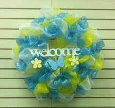 Welcome Mesh Wreath