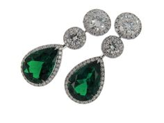 Rosendorff Green With Envy Collection Emerald and Diamond Drop Earrings