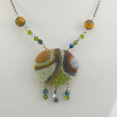 Needle Felted Necklace -- OOAK Abstract Design in Soft Blues, Greens, and Browns with Crystals and Tiger's Eye Beads