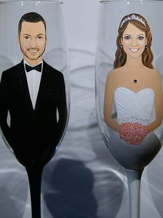 Set of 2 Bride and Groom Custom Hand painted by MySistersBoutique
