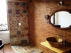 patchwork tiles on shower wall and floor Scandinavian Bathroom, Scandinavian Design, Patchwork Tiles, Open Showers, Bad Styling, Home Garden Design, Ideias Diy, Exposed Brick, Bathroom Styling