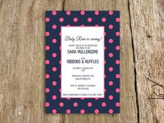 Preppy Polka dot baby shower invitation - customize with your colors - shown in navy and pink on Etsy, $15.00 (pink & green)