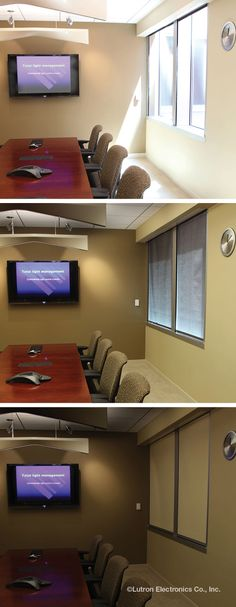 Too much glare on a video screen? Lutron automated roller shades are the answer.  www.automation-design.com