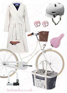 Ladies Bike Fashion complete with Dutch styled HolyMoly made my Creme bicycles, WODB Mac, Bern helmet, Knog Frog lights, Basil seat cover, Basil single pannier/bag