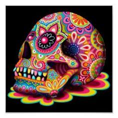 Colorful Sugar Skull Art Poster Print (: #skulls #colorful