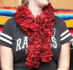 Rubies Crochet Scarf Red Scarf Ruffle Ruffle Scarf by kidalia