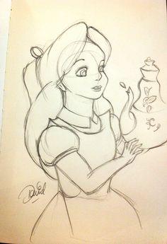 Alice and teapot  in Alice in wonderland