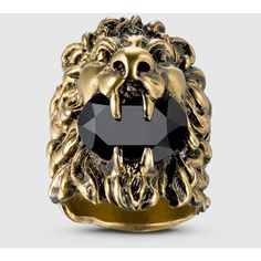 Gucci Lion Head Ring With Swarovski Crystal ($380) ❤ liked on Polyvore featuring jewelry, rings, silver & fashion jewelry, lion jewelry, black ring, gucci jewellery, lion ring and swarovski crystals jewelry