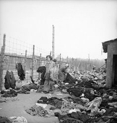 Prisoners at the newly liberated Bergen-Belsen concentration camp, 1945