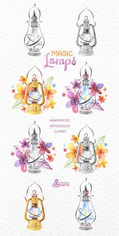 Magic Lamps. Watercolor handpainted clipart oil by OctopusArtis