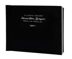 Leather horizontal landscape orientation memorial guest book, personalized.