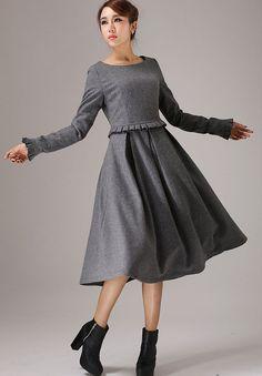 wool dressGray dresswinter dress maxi dresslong sleeve by xiaolizi