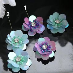 Crystal Sequins Beaded Flower Applique cloth DIY Brooch badge Craft decorative Party cloth hair bag accessory supply - - Crystal Sequins Beaded Flower Applique cloth DIY Brooch badge Craft decorative Party cloth hai Source by Bead Embroidery Tutorial, Bead Embroidery Jewelry, Hand Embroidery Designs, Beaded Embroidery, Motifs Perler, Bead Sewing, Elegant Flowers, Beaded Brooch, Beaded Lace