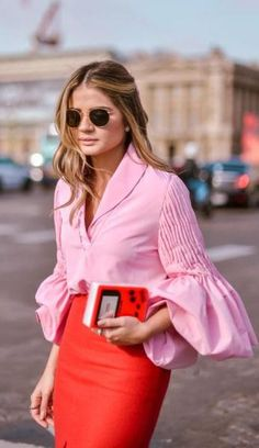 pink + red. street style.