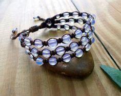 Opalite macrame bracelet beaded bracelet healing by SelinofosArt