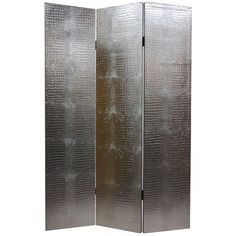 Oriental Furniture Faux Leather Crocodile Room Divider in Silver